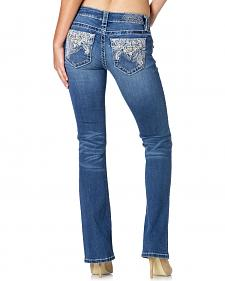 MIss Me Women's Mid-Rise Embroidered Pocket Bootcut Jeans