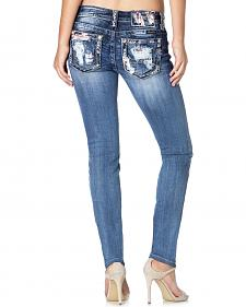MIss Me Women's Distressed Fabric Patch Skinny Jeans