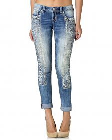 Miss Me Women's Embroidered Leg Cuffed Skinny Jeans