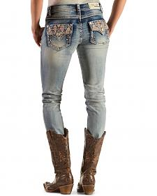 Grace in LA Women's Embellished Flap Pocket Skinny Jeans