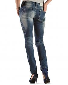 Grace in LA Floral Embroidery Skinny Jeans