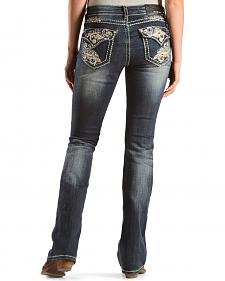 Grace in L.A. Women's Contrast Stitch Embellished Bootcut Jeans - Extended Sizes