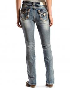 Grace in L.A. Women's Zigzag Embellished Bootcut Jeans - Extended Sizes