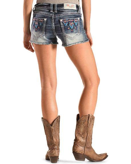 Grace in LA Blue Aztec Embroidered Cutoff Shorts