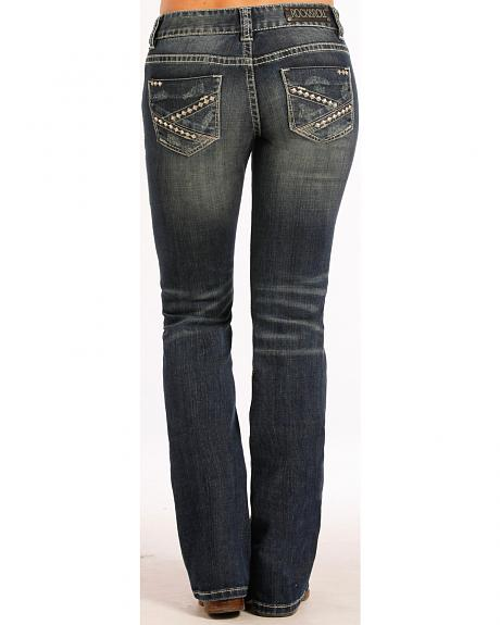 Rock and Roll Cowgirl Pyramid Stud Jeans - Boot Cut