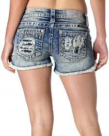 Miss Me Women's Heavy Metal Denim Shorts