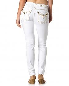 Miss Me Women's Seed Bead White Skinny Jeans