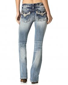 Miss Me Women's Distressed Embellished Flap Pocket Jeans - Bootcut