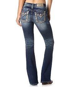 Miss Me Women's Embroidered Pocket Rim Jeans - Bootcut