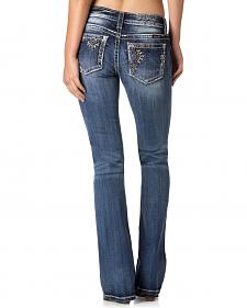 MIss Me Women's Off-Center Embellished Jeans - Bootcut