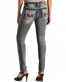 Grace in LA Women's Aztec Embellished Skinny Jeans