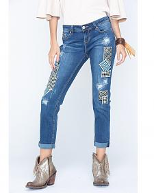 Grace in LA Women's Patch Front Jeans - Plus Sizes