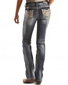 Grace in LA Dark Wash Southwest Pocket Bootcut Jeans