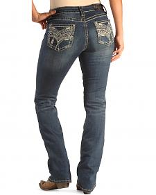 Grace in LA Women's Easy Fit Scroll Stitch Jeans - Bootcut
