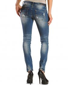 Grace in LA Women's Distressed Destructed Skinny Jeans