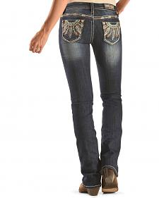 Grace in LA Women's Medium Wash Indian Feather Jeans - Bootcut