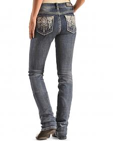Grace in LA Women's Aztec Dark Wash Jeans - Bootcut