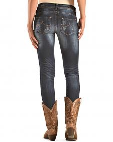 Grace in LA Women's Dark Wash Skinny Distressed Jeans