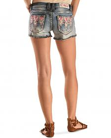 Grace in L.A. Women's Victoria Embroidered Denim Shorts