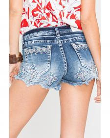 Grace in LA Women's Fiona Scallop Trim Denim Shorts