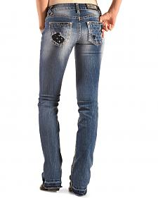 Grace in LA Women's Pastel Embroidered Eagle Bootcut Jeans