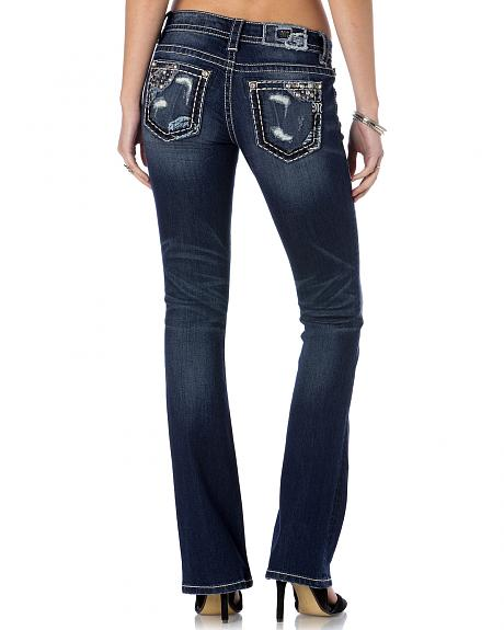 Miss Me Women's Denim Patch Bootcut Jeans - Extended Sizes