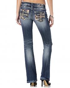 Miss Me Women's Patchwork Cross Bootcut Jeans