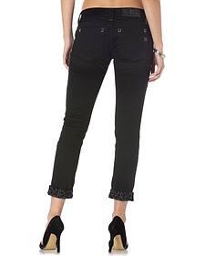 Miss Me Women's Black Modern Mix Cuffed Skinny Jeans