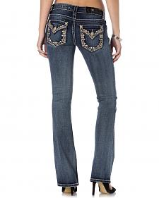 Miss Me Embroidered Flap Border Dark Wash Jeans - Bootcut