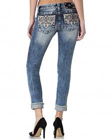 Miss Me Embroidered Pocket Frayed Cuff Skinny Jeans