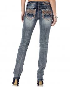 Miss Me Tribal Print Pocket Whiskered Jeans - Straight Leg