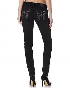 Miss Me Women's Black Flap Pocket Skinny Jeans