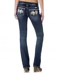Miss Me Women's Feather Boho Slim Jeans - Bootcut