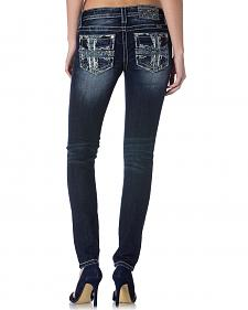 Miss Me Women's Cross Pocket Skinny Jeans - Extended Sizes