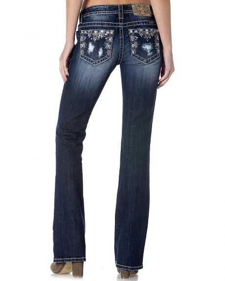 Miss Me Women's Rip/Repair Mid-Rise Bootcut Jeans - Extended Sizes