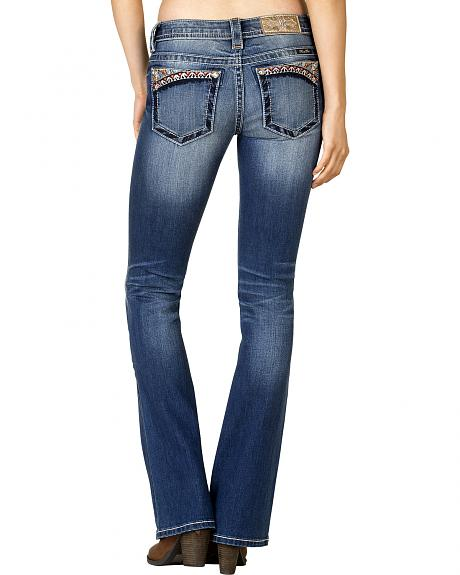 Miss Me Women's Medium Wash Aztec-Embroidered Bootcut Jeans - Extended Sizes