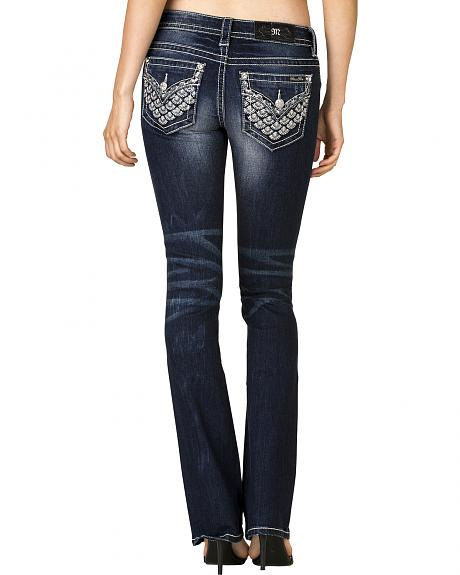 Miss Me Women's Dark Wash Embellished Back Flap Bootcut Jeans