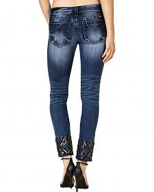 Miss Me Women's Dark Wash Embroidered Ankle Skinny Jeans