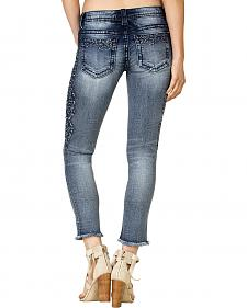Miss Me Women's Raw Cuff Embroidered Side Skinny Jeans