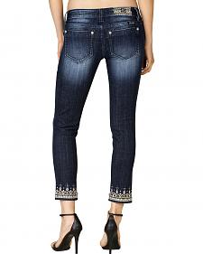 Miss Me Women's Dark Wash Embroidered Cuff Skinny Jeans