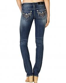 Miss Me Women's Dark Wash Flap Pocket Straight Jeans