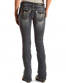 Miss Me Women's Embroidered Flap Pocket Dark Wash Skinny Jeans