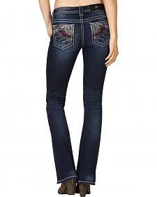 Miss Me Women's Mid-Rise Feather Embroidered Bootcut Jeans - Extended Sizes