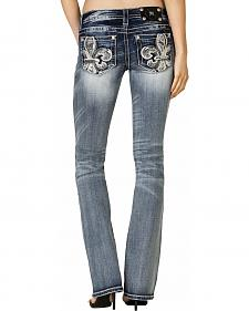 Miss Me Women's Floral Fleur-de-Lis Pocket Bootcut Jeans - Extended Sizes
