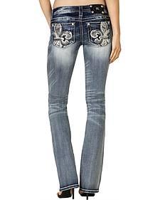 Miss Me Women's Floral Fleur-de-Lis Pocket Bootcut Jeans - Extended Sizes