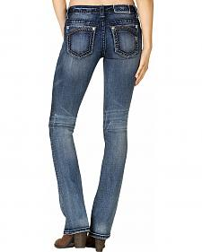 Miss Me Women's Corner Embellished Slim Bootcut Jeans - Extended Sizes