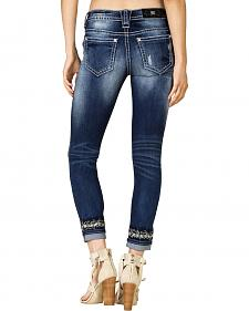 Miss Me Women's Embroidered Cuff Skinny Jeans