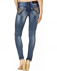 Miss Me Women's Angle Embellished Skinny Jeans - Extended Sizes