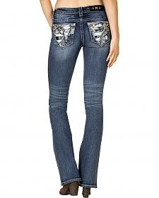 Miss Me Women's Distressed Embroidered Bootcut Jeans