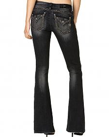 Miss Me Women's Black Flap Pocket Flare Jeans